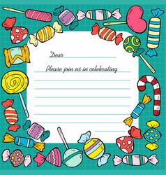 Hand drawn birthday invitation card template vector