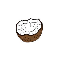 hand drawn colored half cut coconut vector image