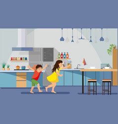 happy children playing on kitchen flat vector image