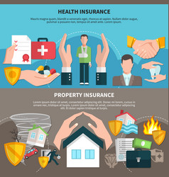 health and property insurance banners vector image
