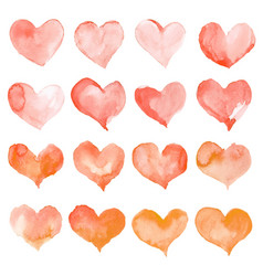 Heart watercolor set for happy valentines day vector