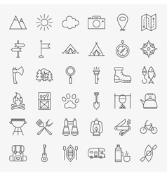 Hiking and Outdoor Line Icons Set vector