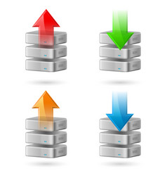 Icon set of computer database with upload and vector