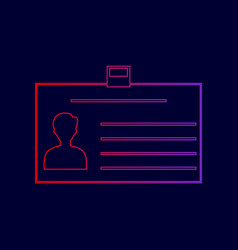 Identification card sign line icon with vector