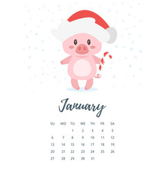 January 2019 year calendar page vector