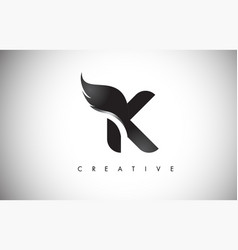 k letter wings logo design with black bird fly vector image