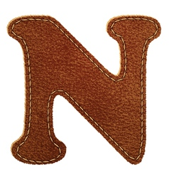 Leather textured letter N vector