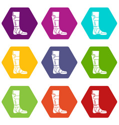 Leg in retainer icons set 9 vector