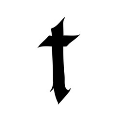 Letter t in gothic style alphabet symbol vector