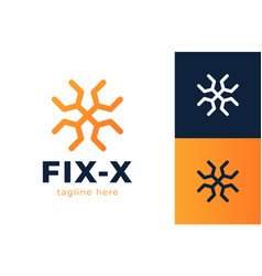 letter x wrench logo design handyman repair vector image