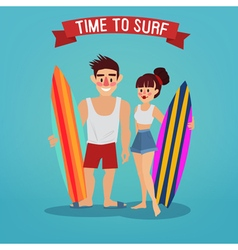 Man and Woman with Surf Time to Surf Travel vector image