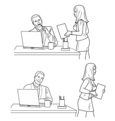 Man looking looks at a woman in front and back vector