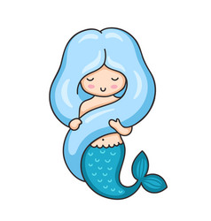 mermaid with long blue hair vector image