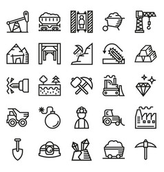 Mining icon collection for web app vector