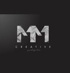 Mm m m letter logo with zebra lines texture vector