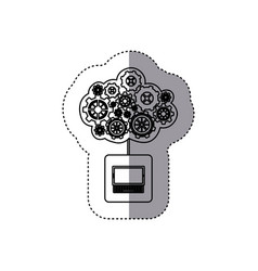 Monochrome sticker with concept of maintenance vector