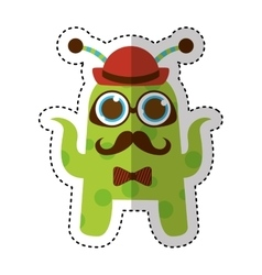 monster comic character with hipster style icon vector image
