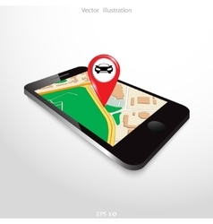 Navigation background with mobile device vector image