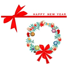 New Year Gift Card with Christmas Wreath vector image