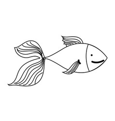 outline cute fish exotic sea animal vector image