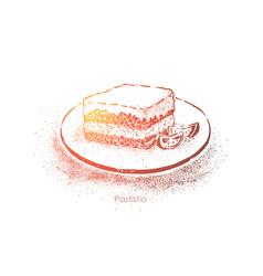 Pastitsio greek layered dish macaroni baked vector
