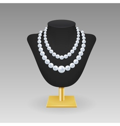 Pearl necklace on a rack vector