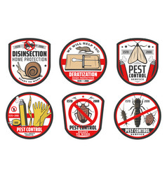 Pest control icons insects disinfection service vector