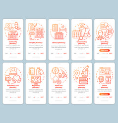 Pharmacy types and services onboarding mobile app vector