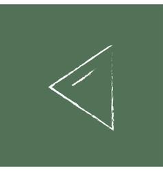 Previous button icon drawn in chalk vector