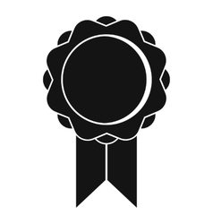 Rosette with ribbon icon simple style vector