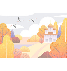 Rural scene with church and yellow trees vector