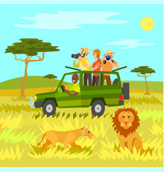 Safari tourism in africa animals and wildlife vector