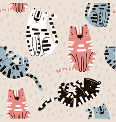 seamless childish pattern with cute tigers vector image