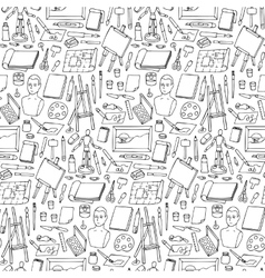 Seamless pattern with doodle art elements vector image