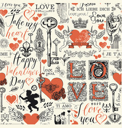 Seamless pattern with love lettering and hearts vector
