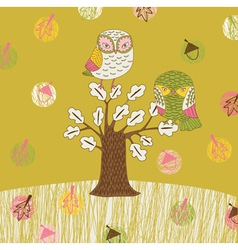 Seasonal owl tree vector