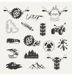 set extreme sports emblems badges labels and vector image