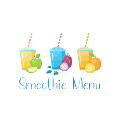 set fruit smoothie cocktail vector image