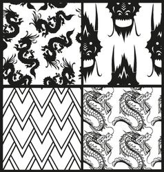 Set of chinese patterns vector image
