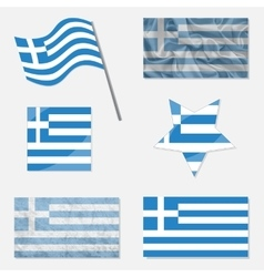 Set with flags of greece vector