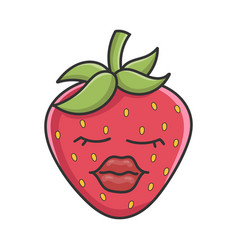 Sexy red lipd strawberry fruit icon cartoon vector