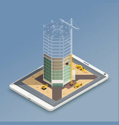 skyscraper construction isometric composition vector image
