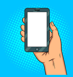 smart phone white screen pop art vector image