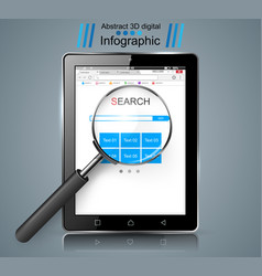 Smart tablet loupe search infographic vector
