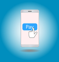 smartphone with pay button vector image