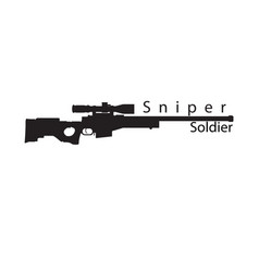 Sniper soldier black text gun background im vector