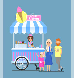 street ice cream cart with vendor and customers vector image