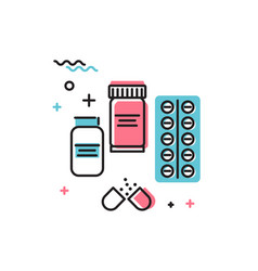 tablets and medicines in flat style icon vector image
