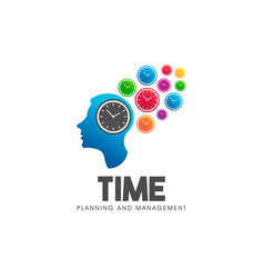time management head think logo symbol vector image