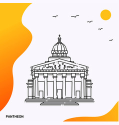 Travel pantheon poster template vector